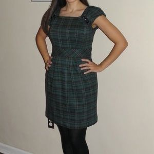 Nanette Lepore Wool Plaid Dress with Buttons